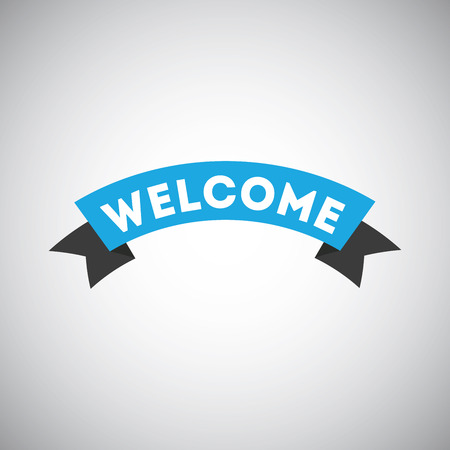 Blue welcome ribbon on gray background