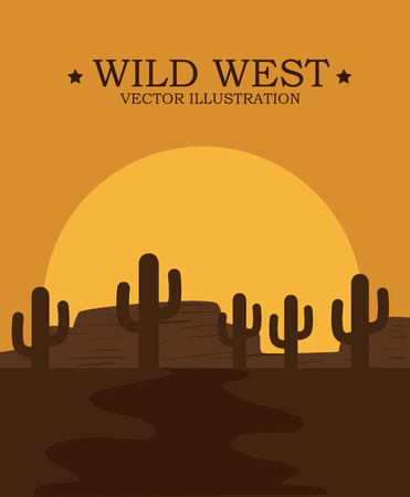 western background: Western design over landscape background, vector illustration