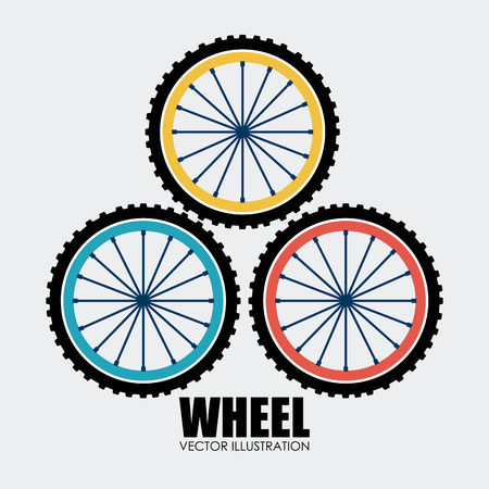 bike race: Wheel design over white background, vector illustration