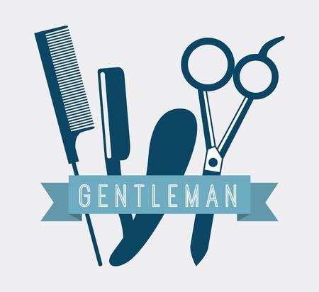 set of men hair styling: salon design over white background vector illustration Illustration