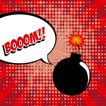 fission: Pop art design over red background, vector illustration Illustration