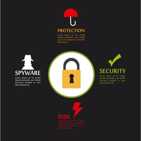 spyware: Dise�o de seguridad sobre fondo negro, ilustraci�n vectorial