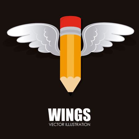 abstract academic: Wings design over white background, vector illustration