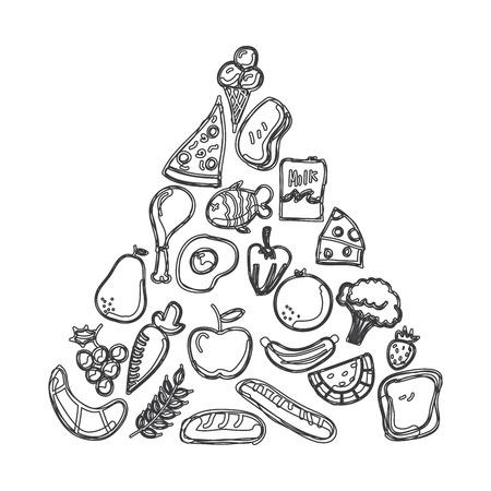 piramide nutricional: dise�o gr�fico nutrici�n. Ilustraci�n del vector. Vectores