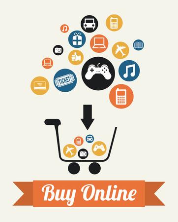 buy on line over white background vector illustration Vector