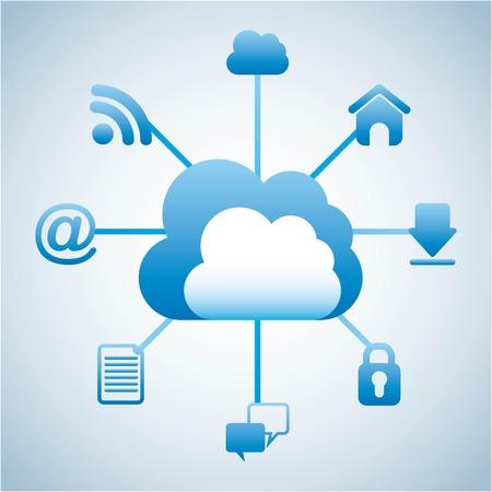 cloud computing over white background vector illustration Vector