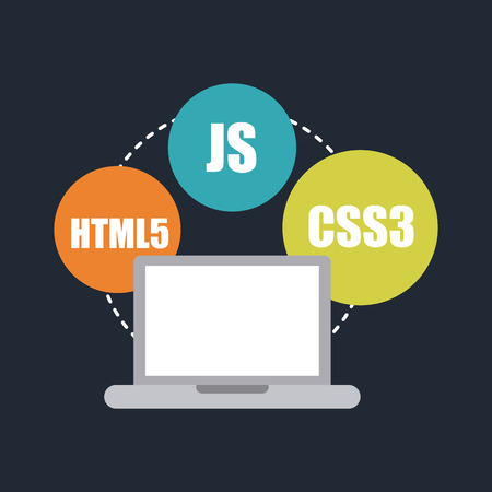 css3: computer design over blue background vector illustration