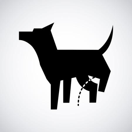 urinare: cane icona del design, illustrazione vettoriale Vettoriali