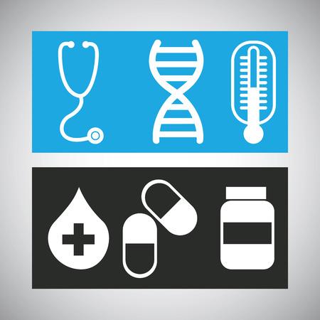 adn: Icono médico del diseño gráfico, ilustración vectorial Vectores