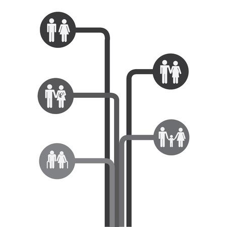 diagrama de arbol: dise�o gr�fico de la familia, ilustraci�n vectorial