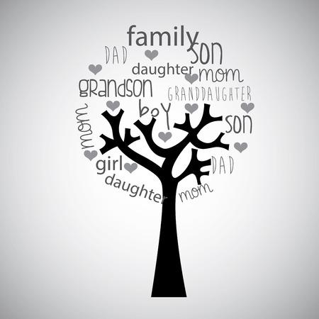 familias jovenes: Dise�o del �rbol geneal�gico, ilustraci�n vectorial