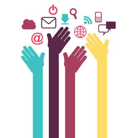 社会的なネットワーク デザイン、ベクトル イラスト