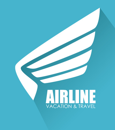 wings icon: Airline design over blue background vector illustration