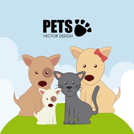 pets background: Pets design over landscape background, vector illustration