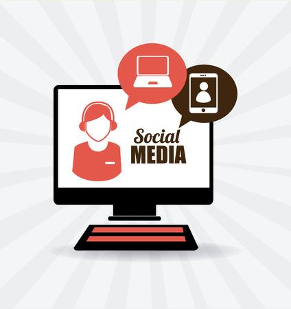 media: Social media design over white background, vector illustration