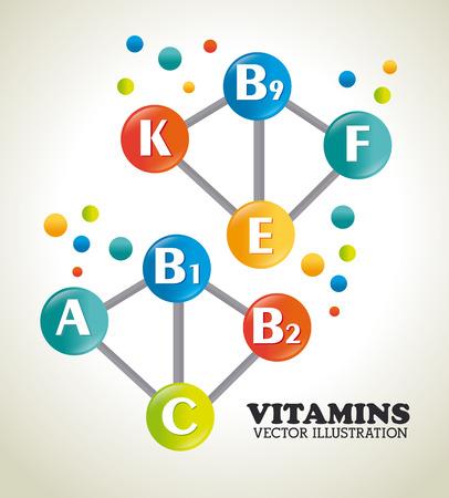 b1: Vitamins design over beige background, vector illustration