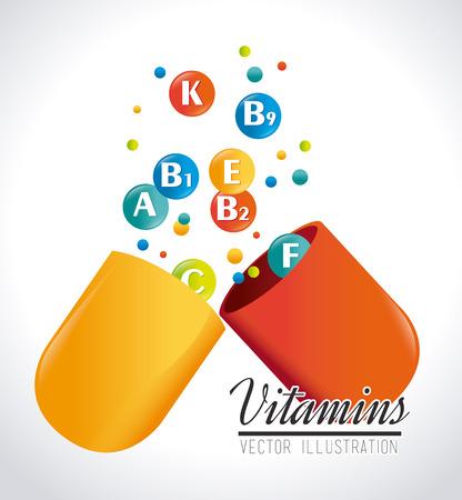 Vitamines conception sur fond blanc, illustration vectorielle