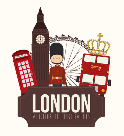 ベクトル イラスト白い背景上、ロンドンのデザイン  イラスト・ベクター素材