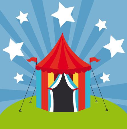 fondo de circo: Diseño del circo sobre fondo azul, ilustración vectorial Vectores