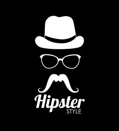 glases: Hipster design over black background, vector illustration