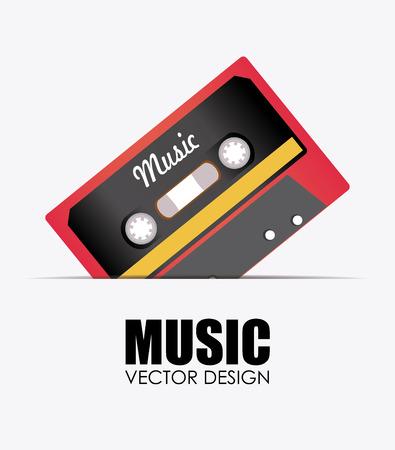 casette: Music design over white background, vector illustration