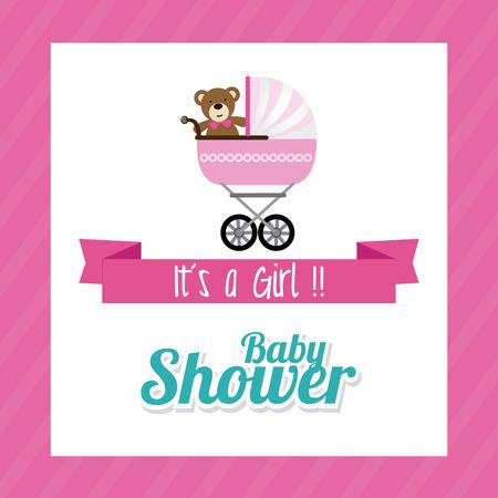 gril: Baby shower design over pink background, vector illustration