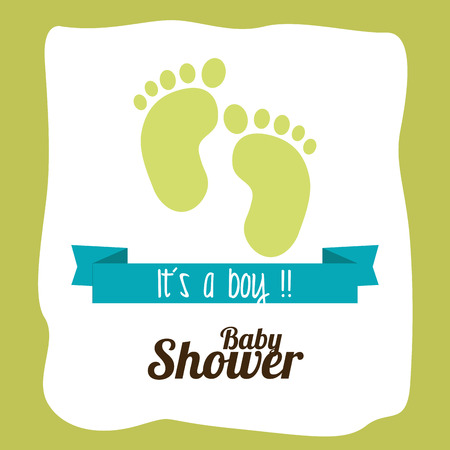 baby boy announcement: Baby shower design over green background, vector illustration
