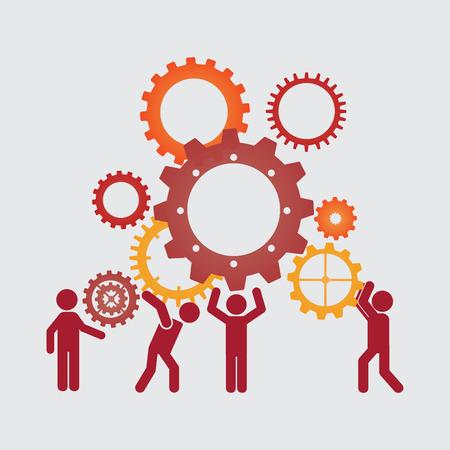 trabajando: diseño gráfico el trabajo en equipo, ilustración vectorial