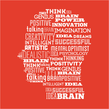 idealistic: think positive graphic design , vector illustration