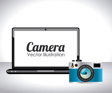 Camera design over white background, vector illustration Vector