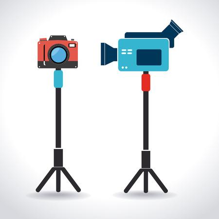 digital photo camera: Camera design over white background, vector illustration