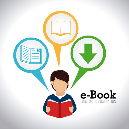 electronic publishing: eBook design over white background, vector illustration