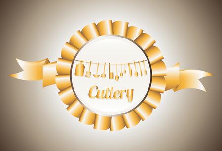 robbon: cutlery graphic design , vector illustration