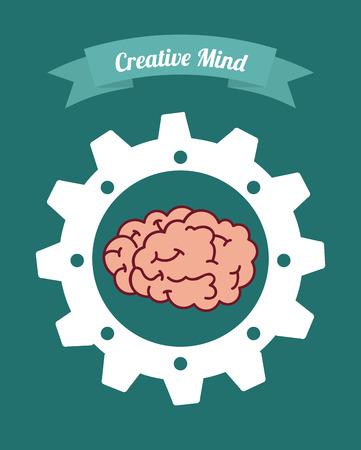 concentration gear: brain graphic design , vector illustration