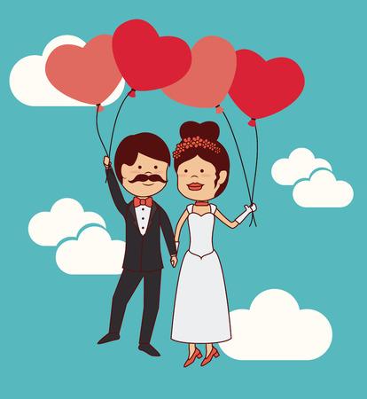 Wedding design over cloudscape background, vector illustration