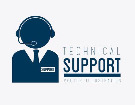 Technical support design over white background, vector illustration