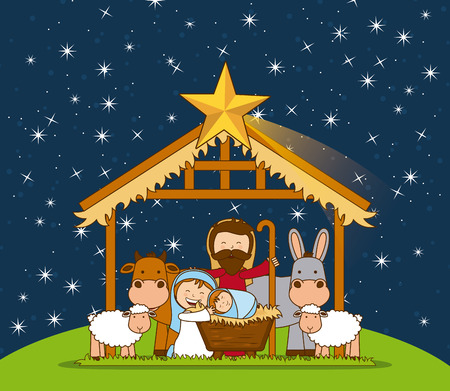 holy family: christmas graphic design , vector illustration