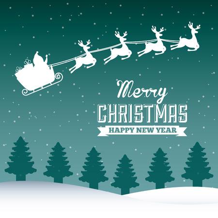 schneelandschaft: Frohe Weihnachten Grafik-Design, Vektor-Illustration