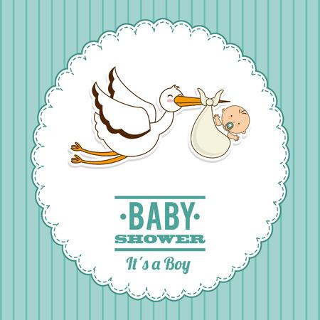 cigueña: diseño gráfico del bebé, ilustración vectorial Vectores