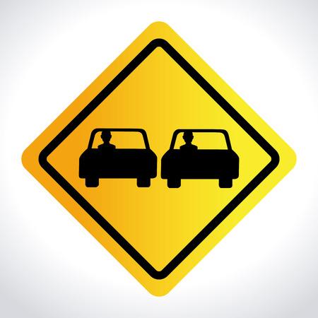 overtaken: Road design over white background, vector illustration Illustration
