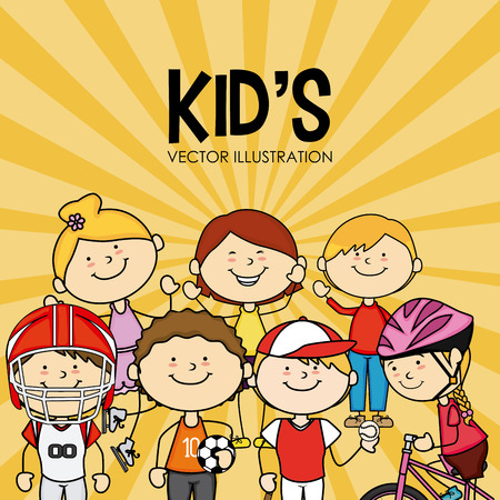 juniors: Kids design over yellow background, vector illustration