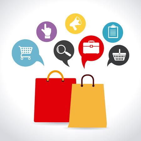 Winkelen ontwerp op een witte achtergrond, vector illustratie Stock Illustratie