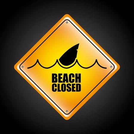 beach closed: shark graphic design , vector illustration Illustration