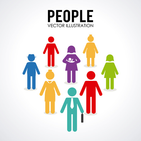 people silhouettes: People design over white background, vector illustration Illustration