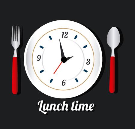 second meal: Time design over black background, vector illustration