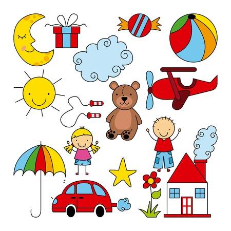 Bambini graphic design, illustrazione vettoriale Archivio Fotografico - 32855590