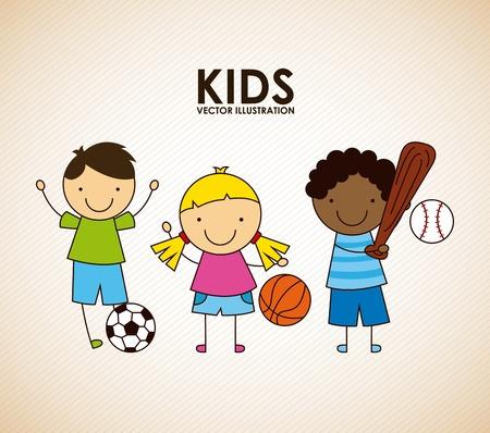 enfant qui joue: enfants conception graphique, illustration vectorielle