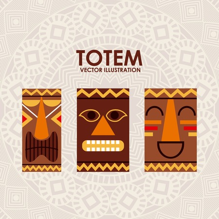 polynesian ethnicity: totem graphic design , vector illustration