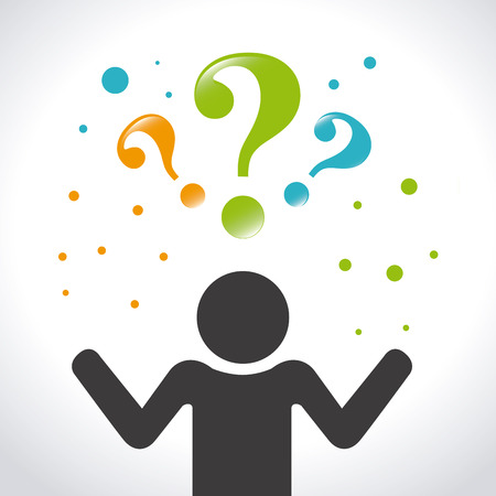question answer: Question design over white background, vector illustration