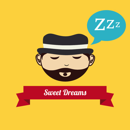 delusion: Sleep design over yellow background, vector illustration Illustration
